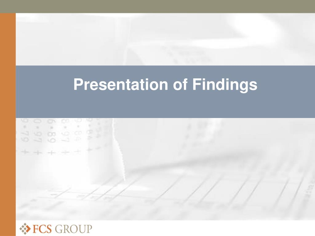 Presentation of Findings