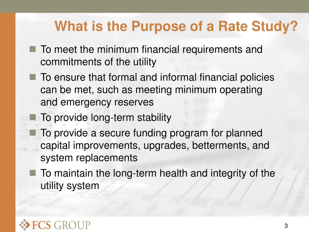 What is the Purpose of a Rate Study?