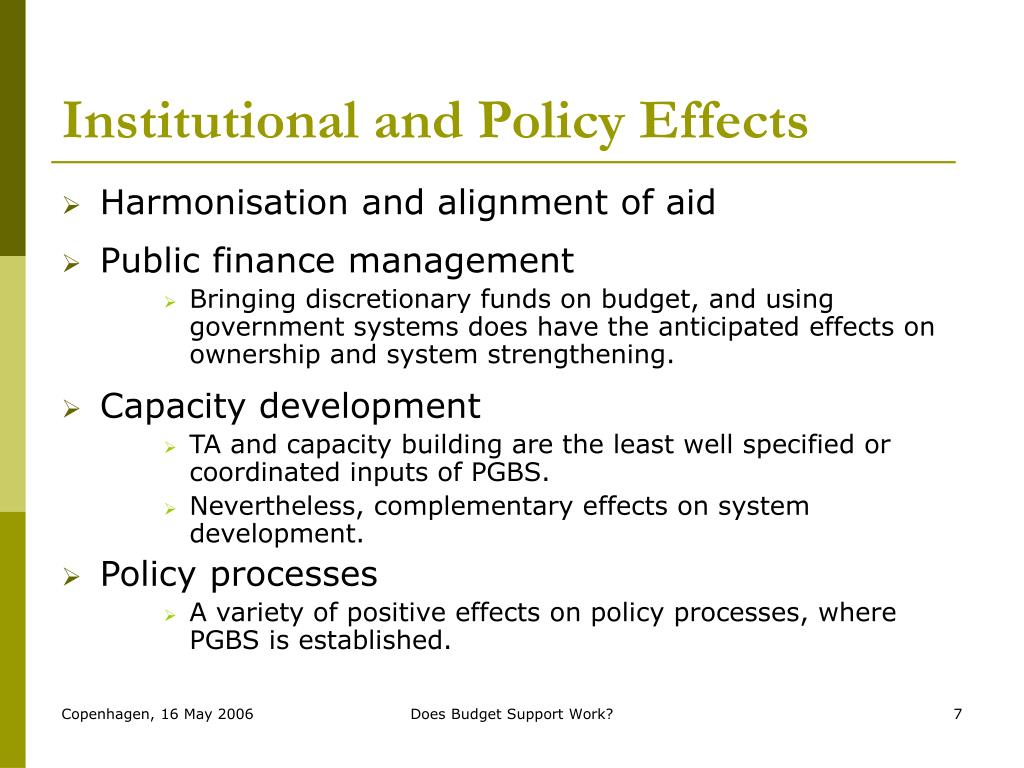 Institutional and Policy Effects