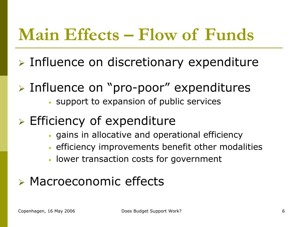 Main Effects – Flow of Funds