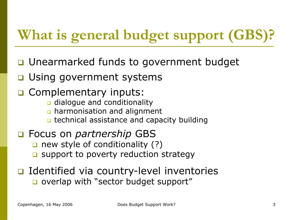 What is general budget support (GBS)?