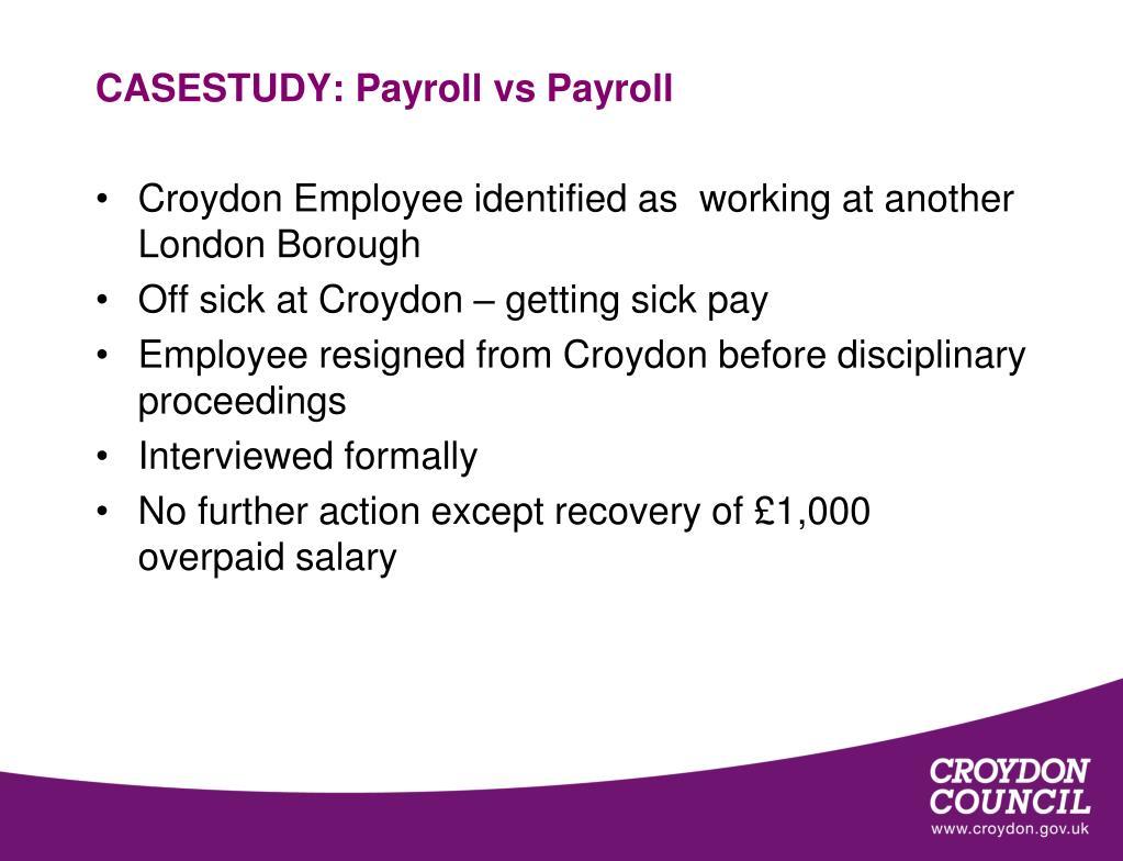 CASESTUDY: Payroll vs Payroll
