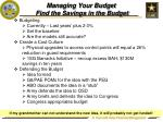 managing your budget find the savings in the budget