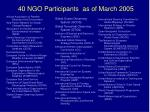 40 ngo participants as of march 2005
