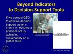 beyond indicators to decision support tools