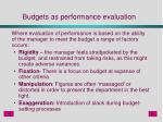 budgets as performance evaluation