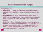 positive reactions to budgets