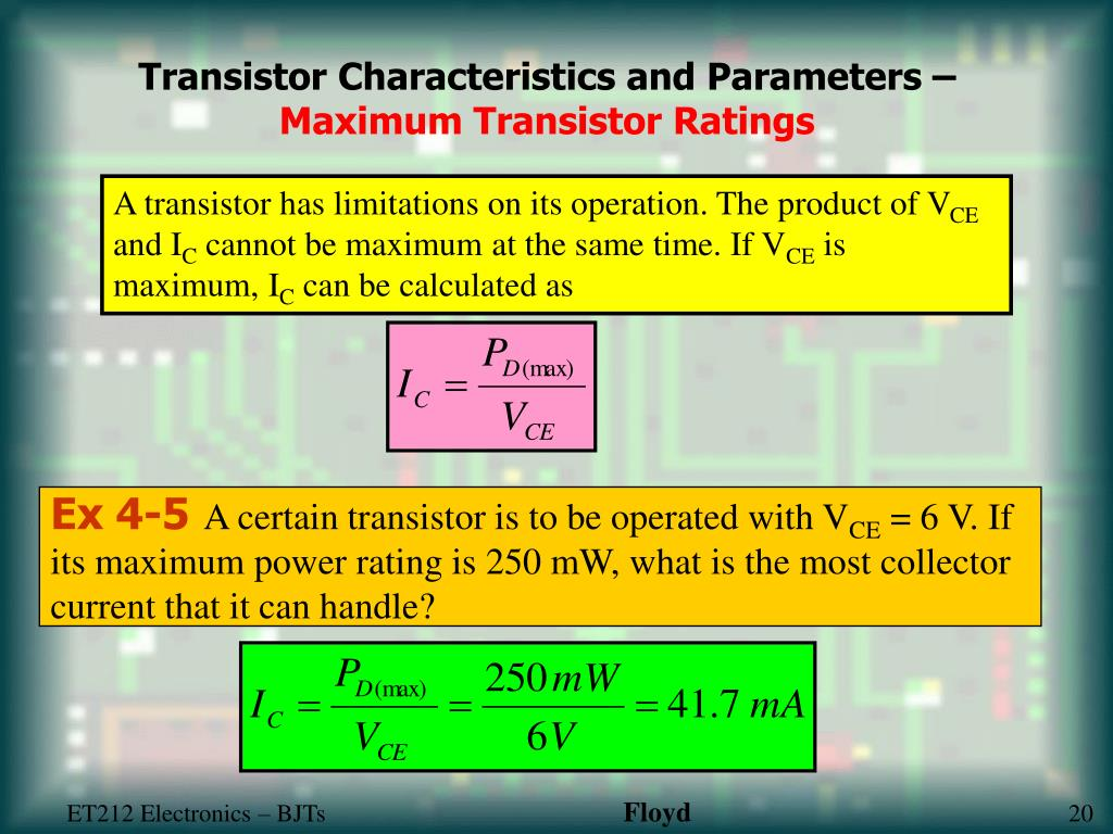 Transistor Characteristics and Parameters –