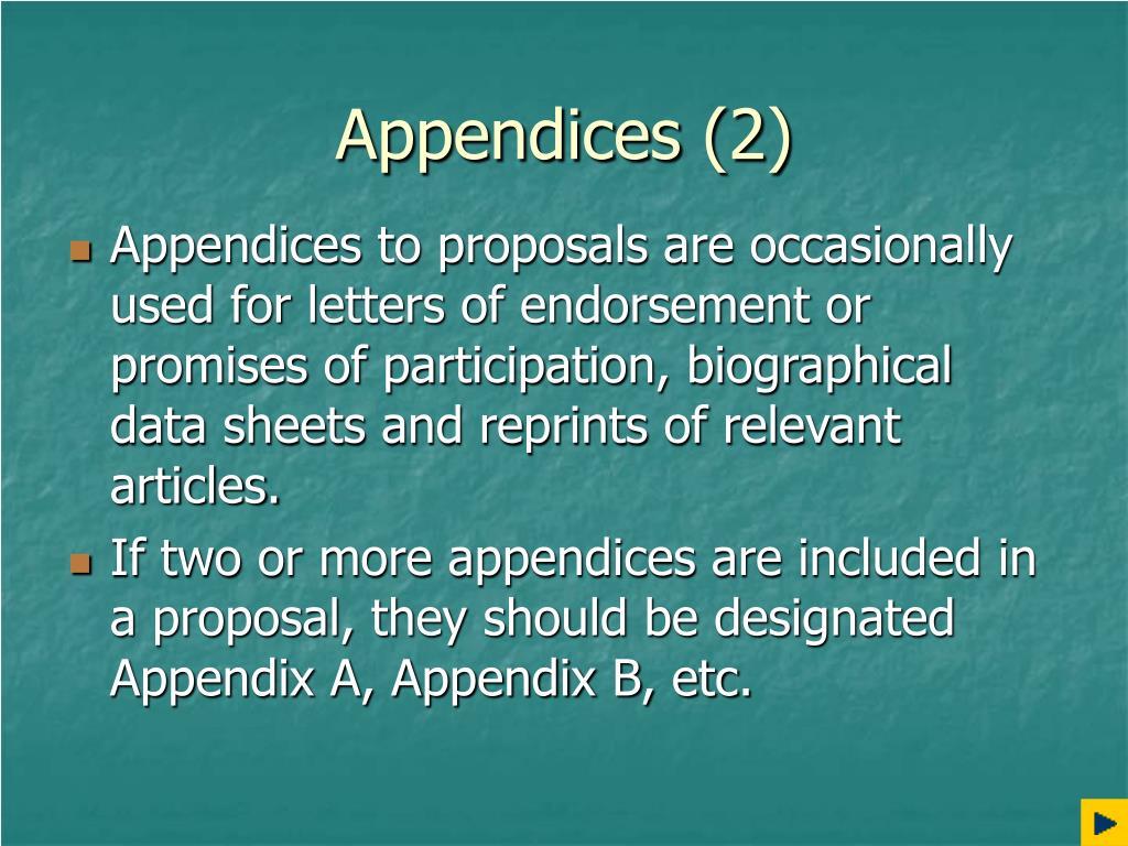 Appendices (2)