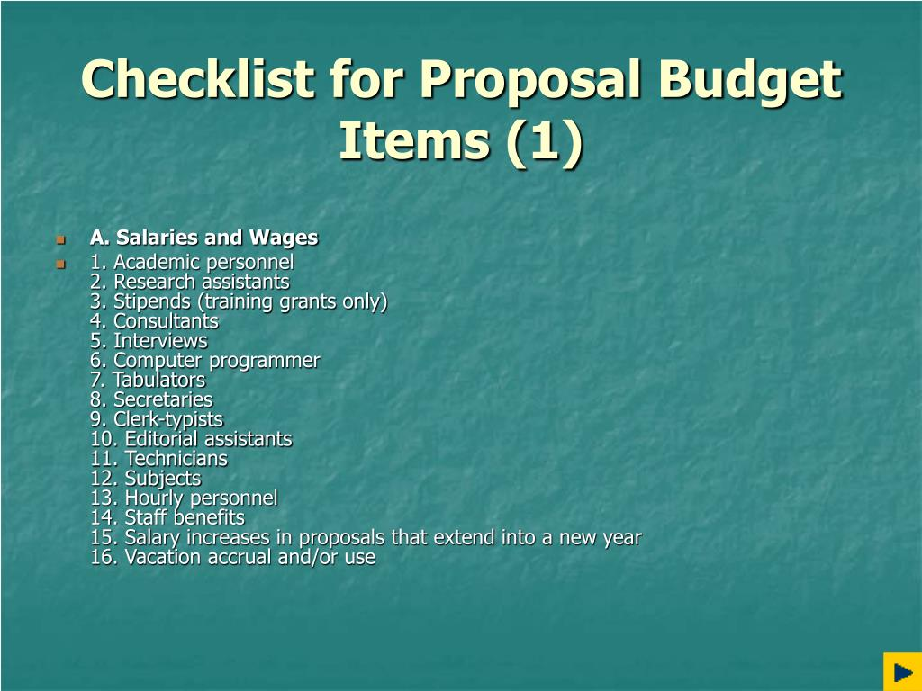 Checklist for Proposal Budget Items (1)