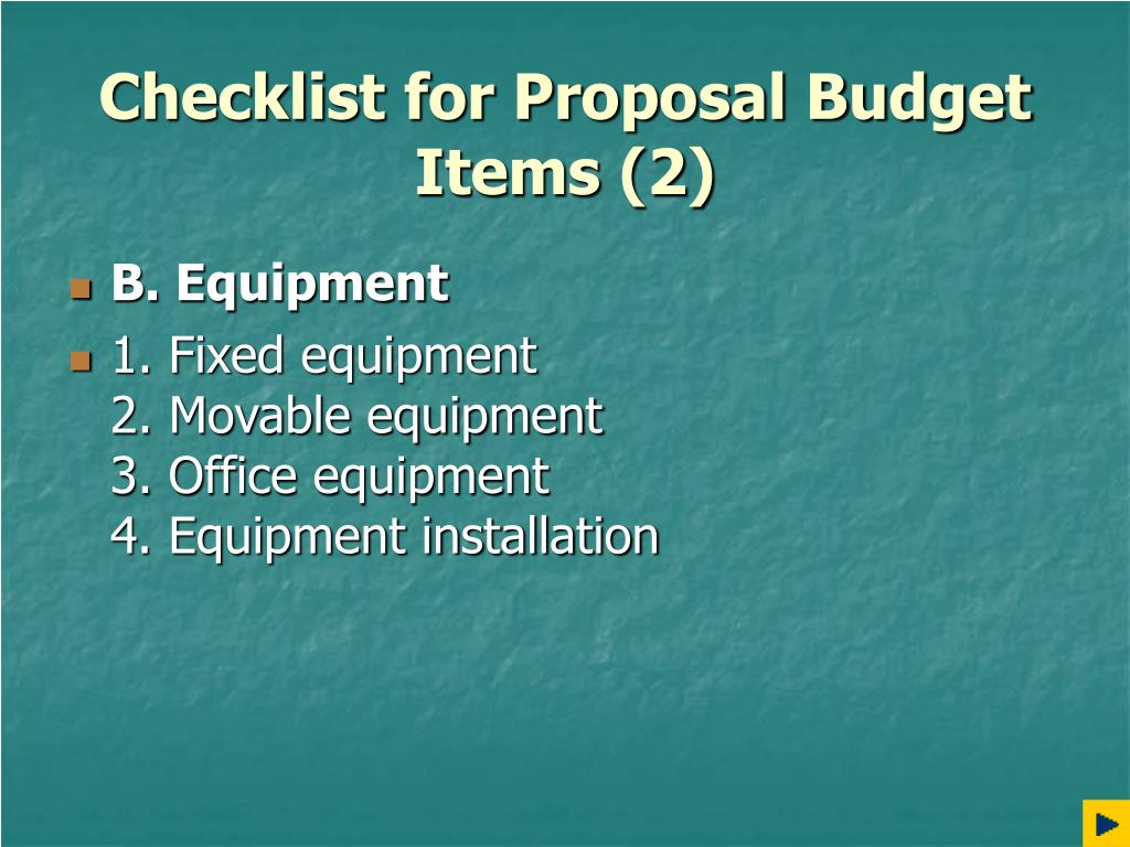 Checklist for Proposal Budget Items (2)