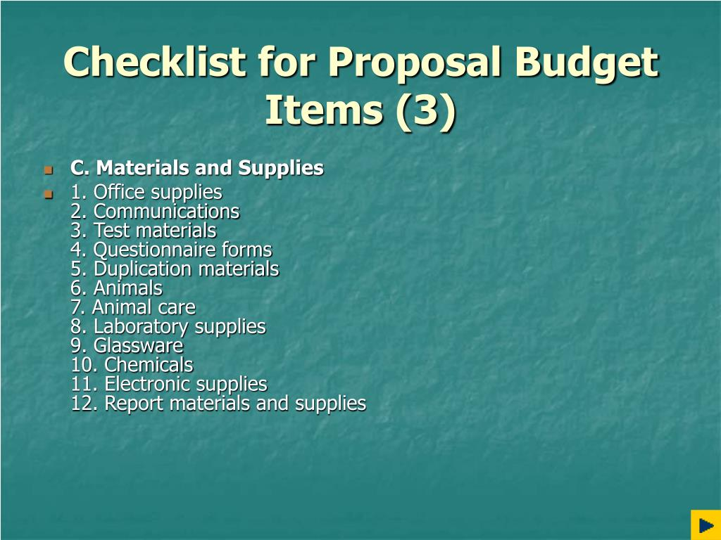 Checklist for Proposal Budget Items (3)