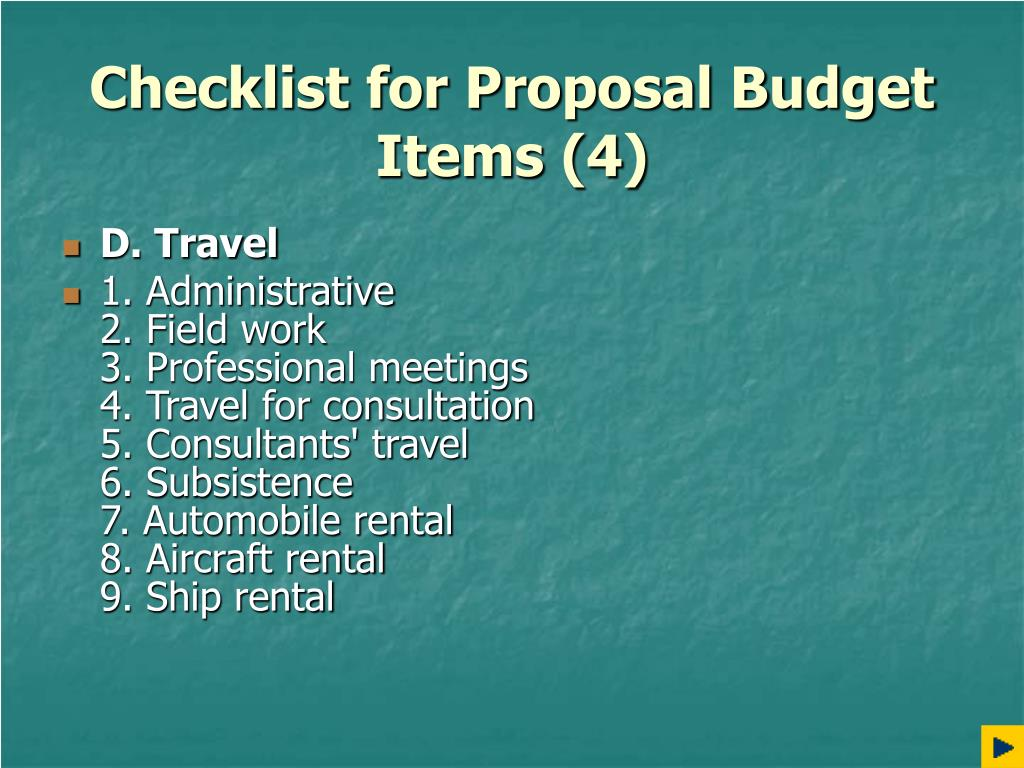 Checklist for Proposal Budget Items (4)