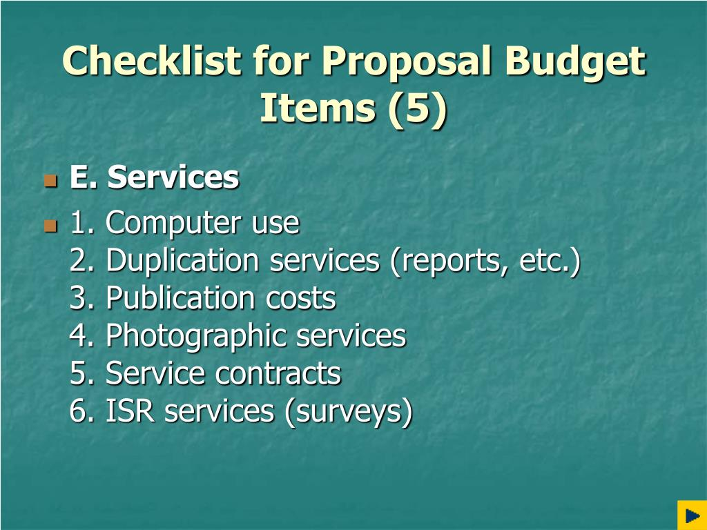 Checklist for Proposal Budget Items (5)