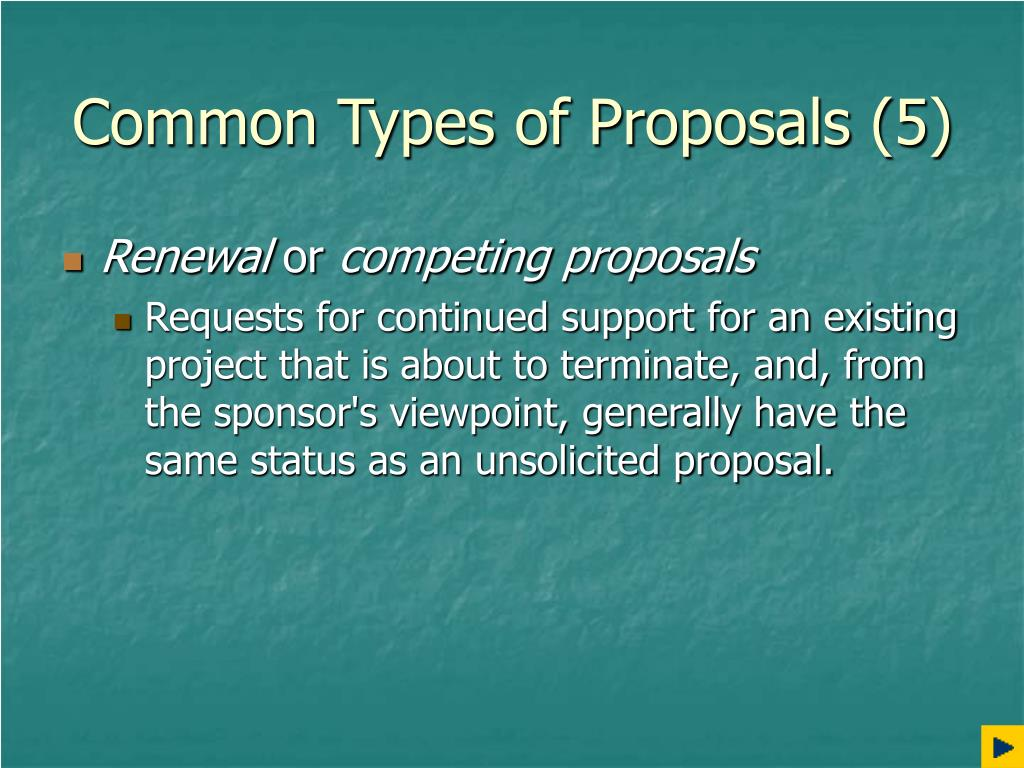 Common Types of Proposals (5)