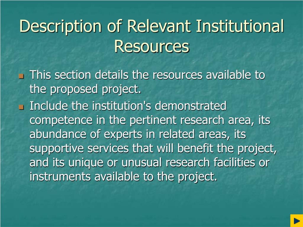 Description of Relevant Institutional Resources