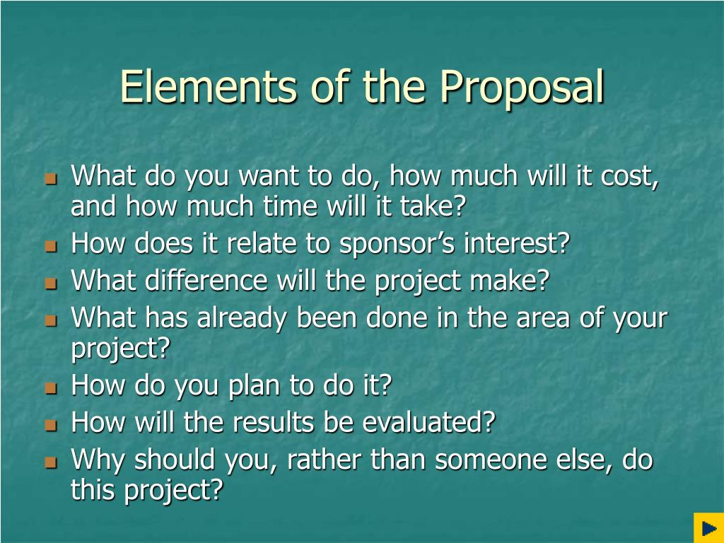 Elements of the Proposal