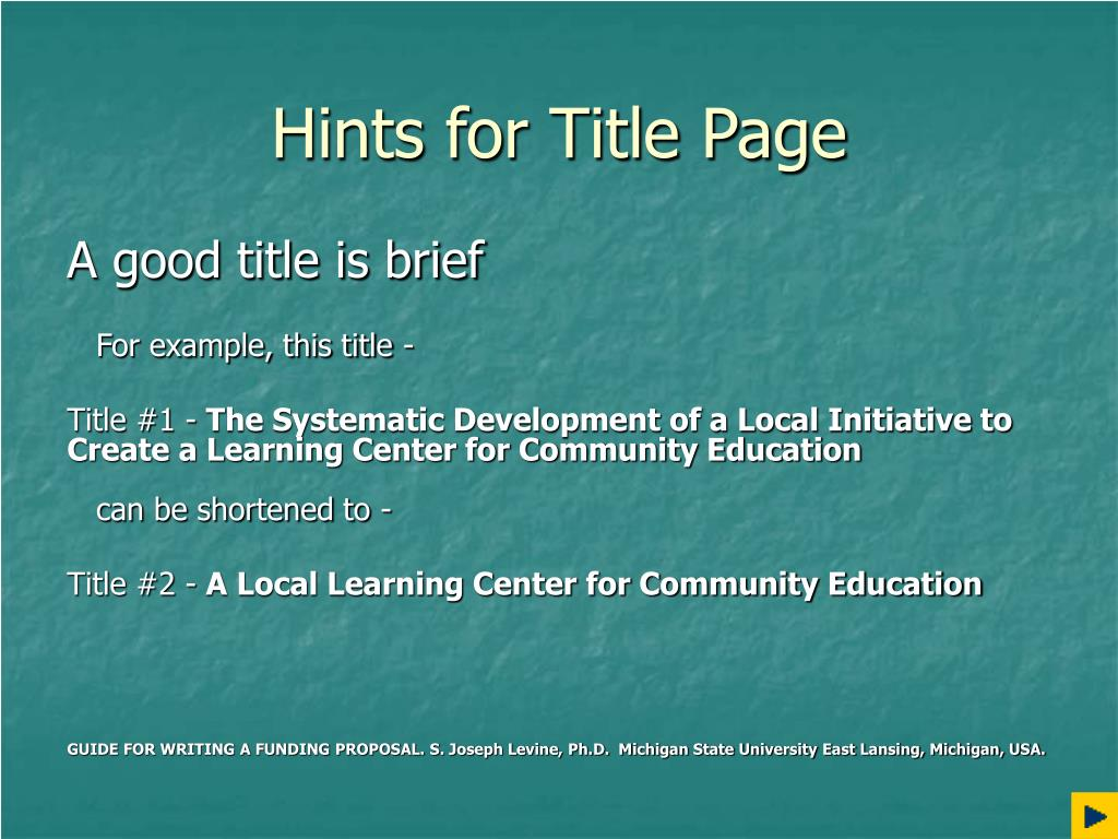 Hints for Title Page