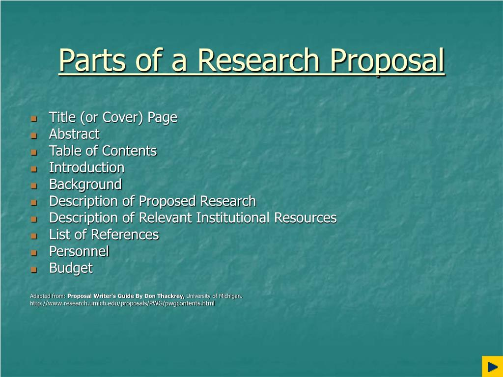 parts of proposal writing