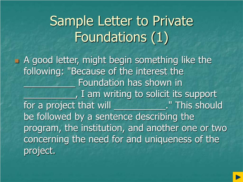 Sample Letter to Private Foundations (1)