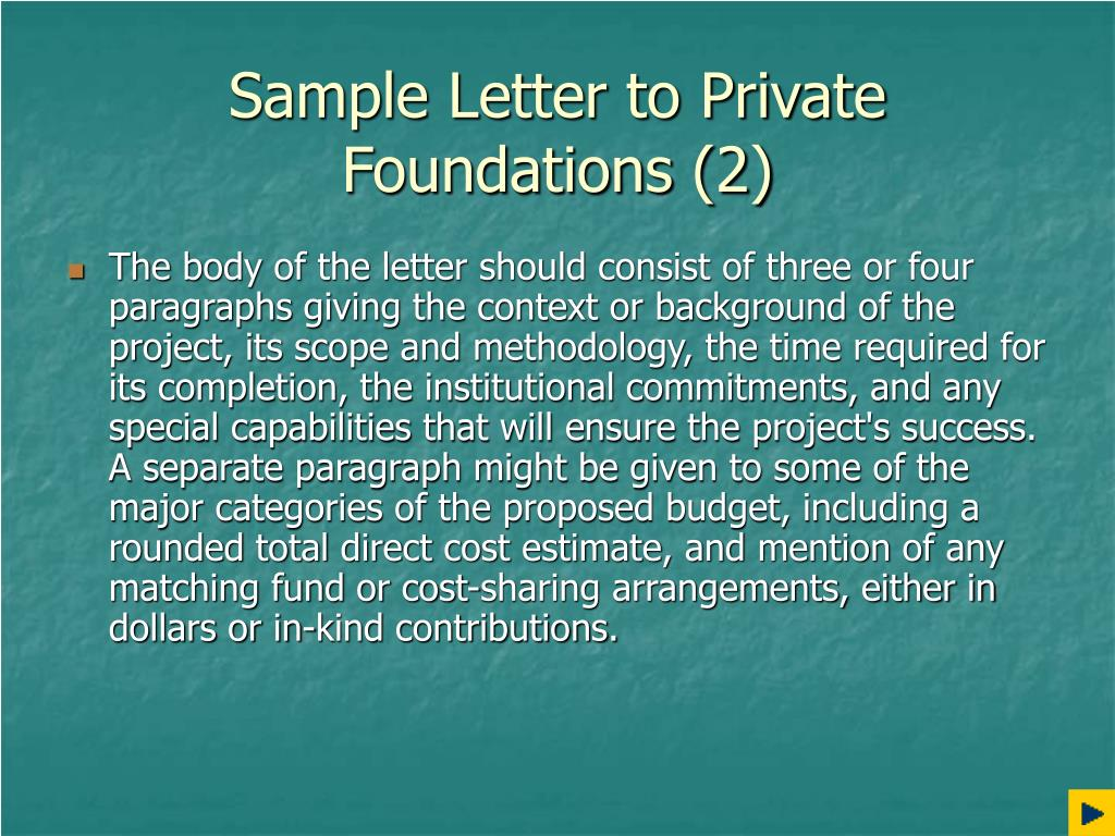 Sample Letter to Private Foundations (2)