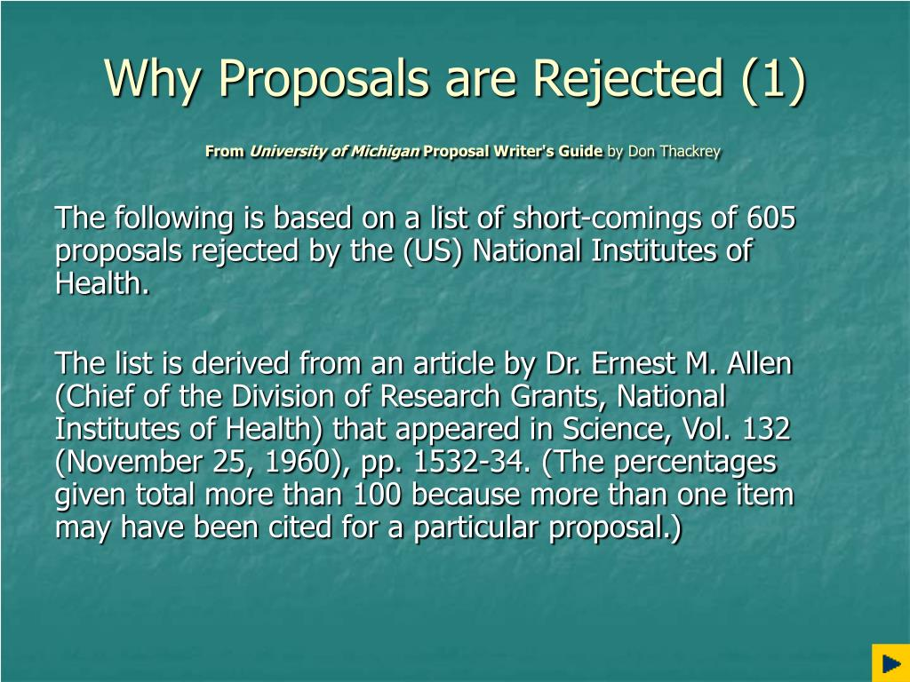 Why Proposals are Rejected (1)