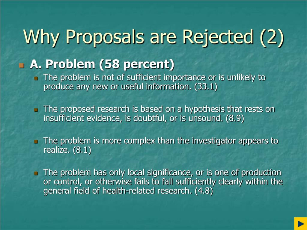 Why Proposals are Rejected (2)