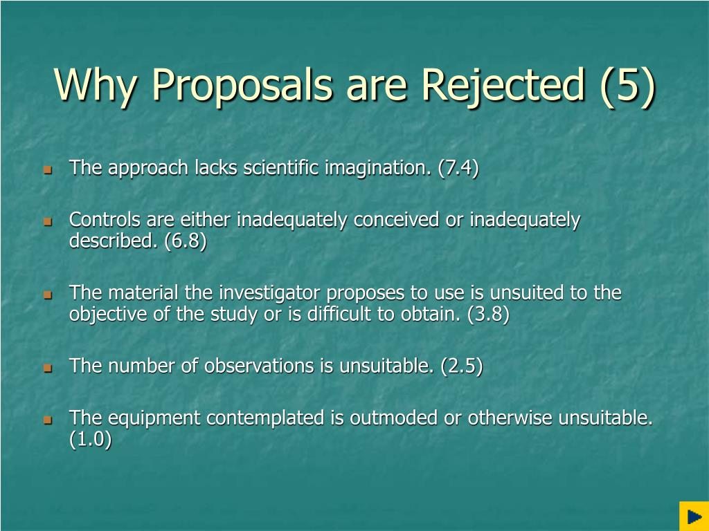 Why Proposals are Rejected (5)