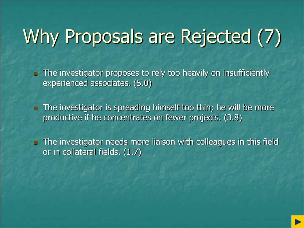 Why Proposals are Rejected (7)