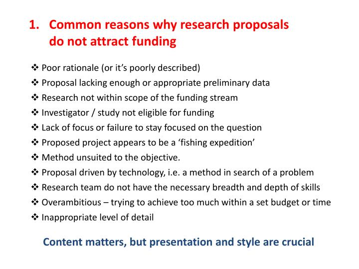 Common reasons why research proposals