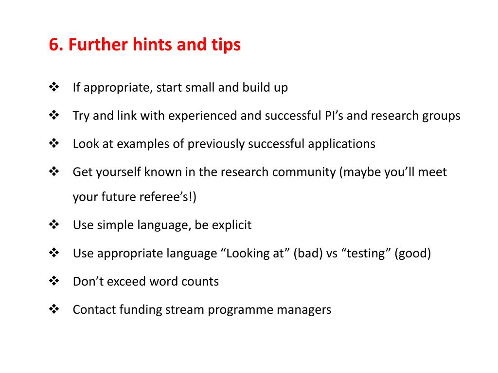 6. Further hints and tips