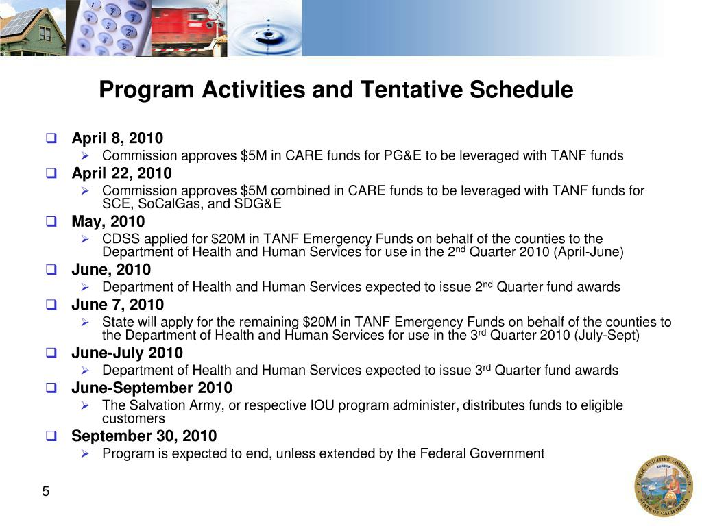 Program Activities and Tentative Schedule