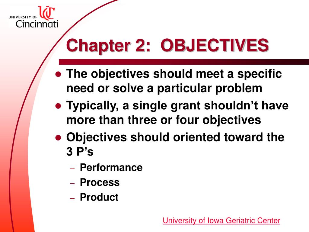 Chapter 2:  OBJECTIVES