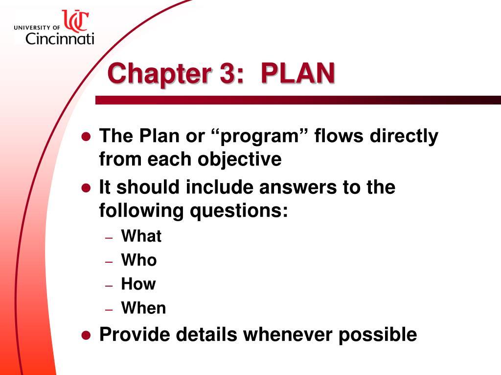 Chapter 3:  PLAN