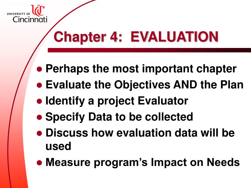 Chapter 4:  EVALUATION
