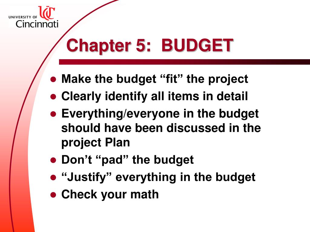 Chapter 5:  BUDGET