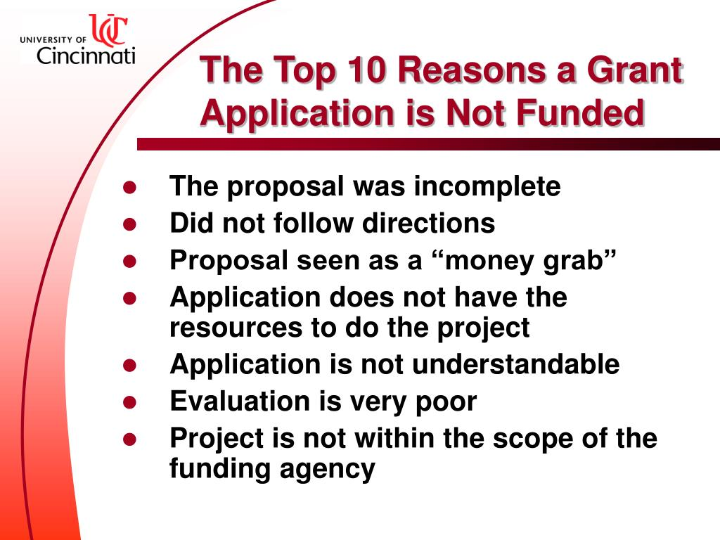 The Top 10 Reasons a Grant Application is Not Funded