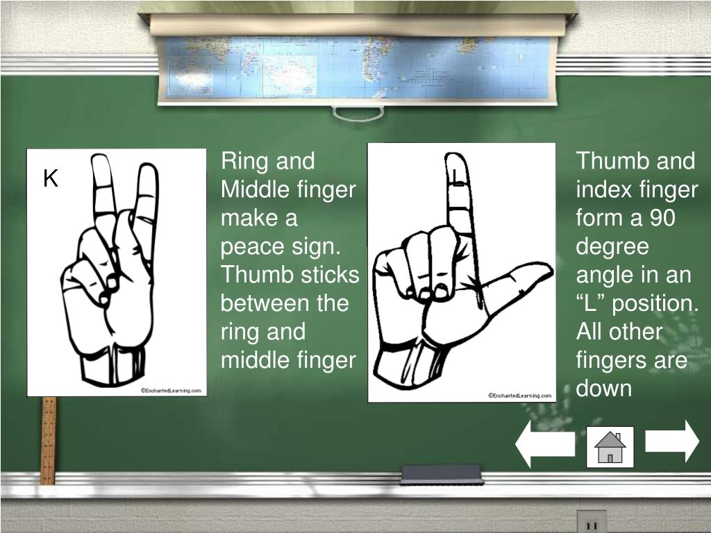 Ring and Middle finger make a peace sign. Thumb sticks between the ring and middle finger