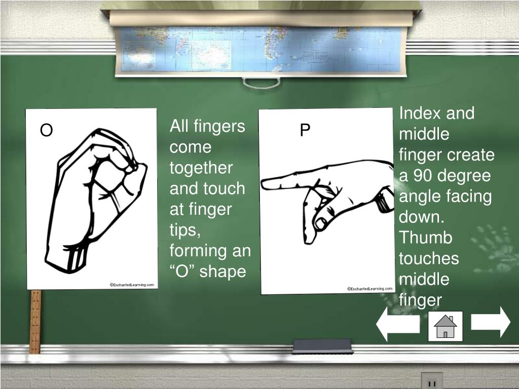 Index and middle finger create a 90 degree angle facing down. Thumb touches middle finger