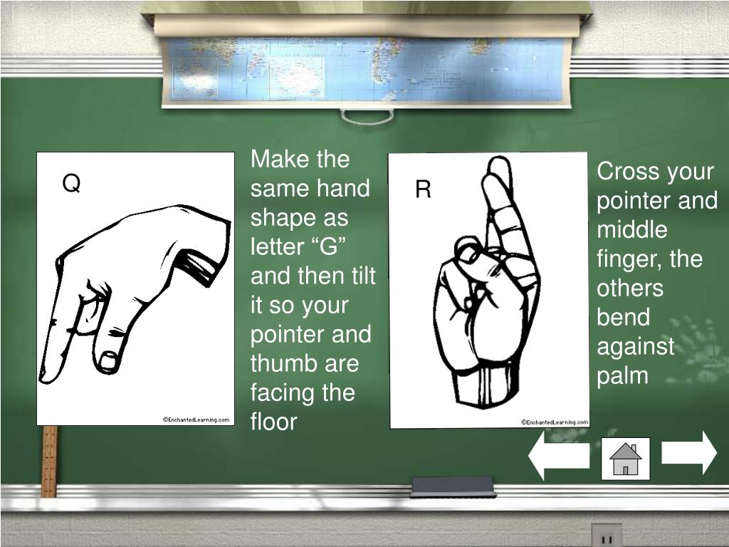 """Make the same hand shape as letter """"G"""" and then tilt it so your pointer and thumb are facing the floor"""