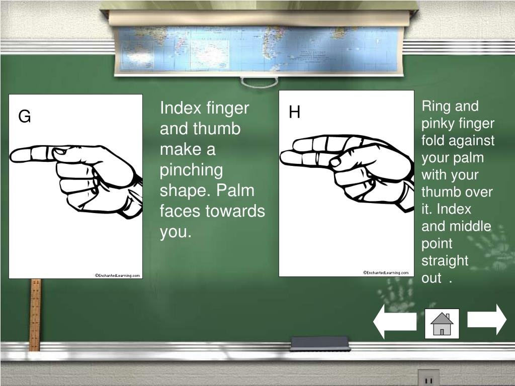 Index finger and thumb make a pinching shape. Palm faces towards you.
