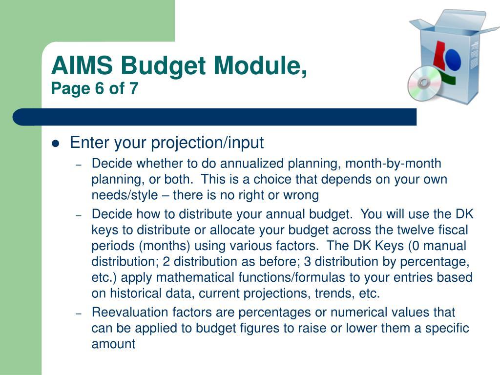 AIMS Budget Module,