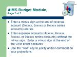 aims budget module page 7 of 7