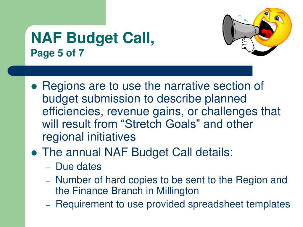 NAF Budget Call,