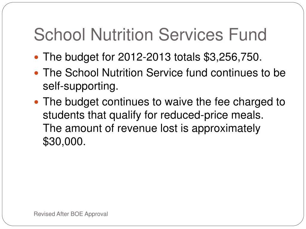 School Nutrition Services Fund