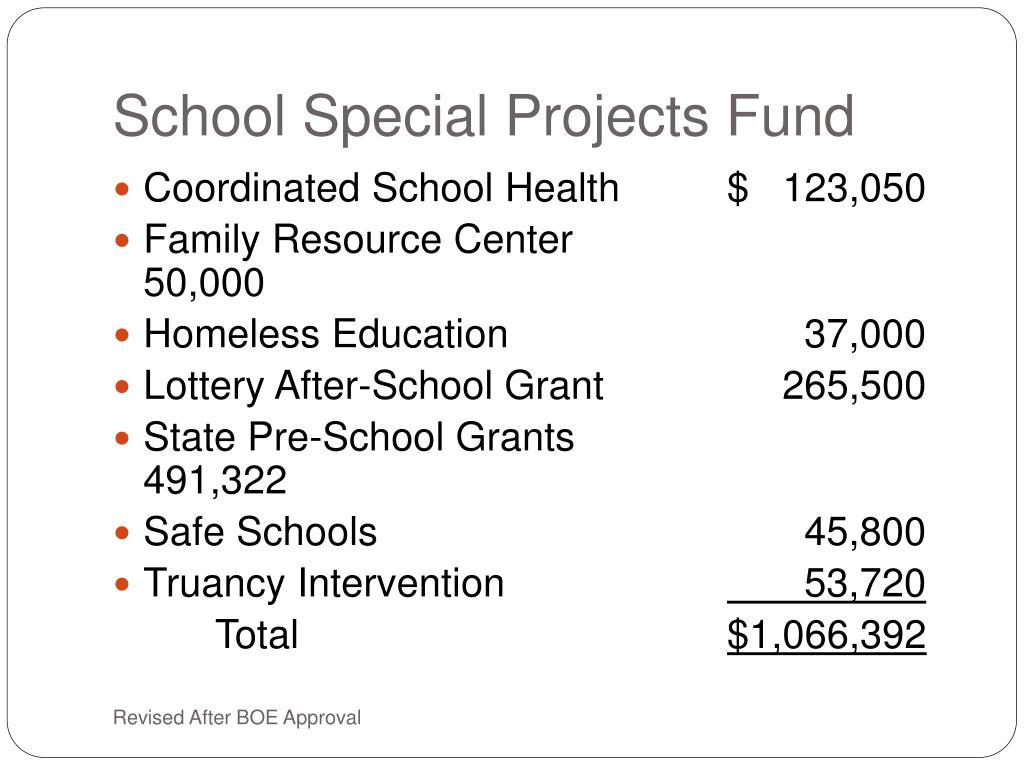 School Special Projects Fund