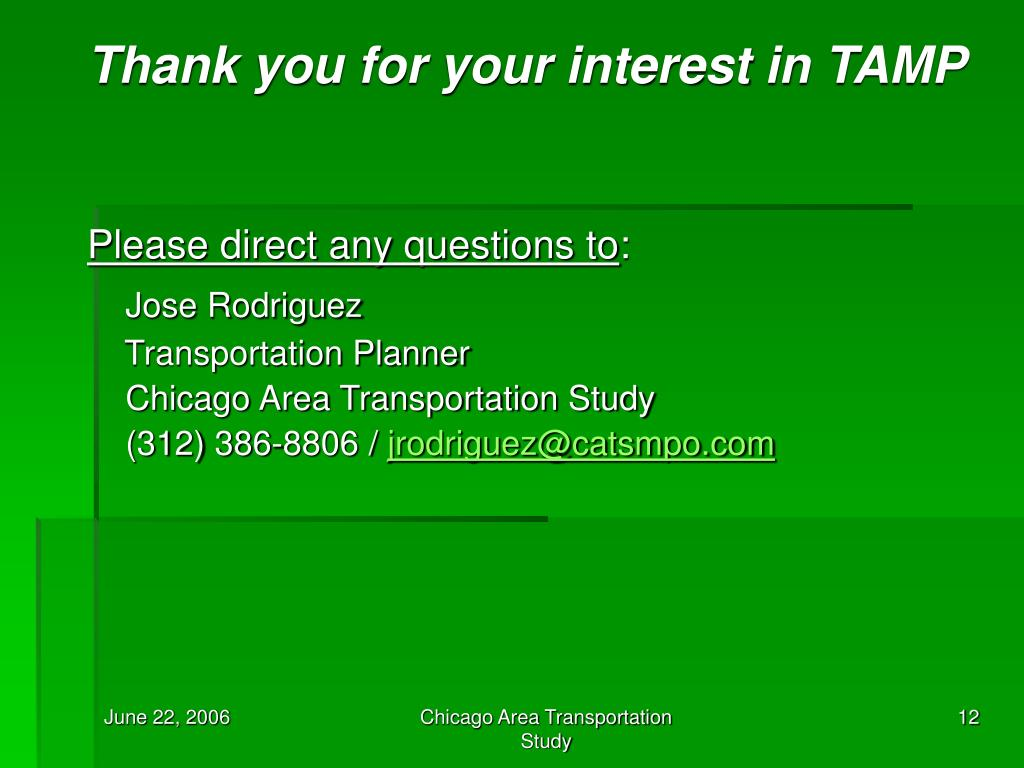Thank you for your interest in TAMP