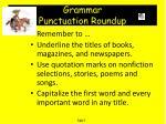 grammar punctuation roundup