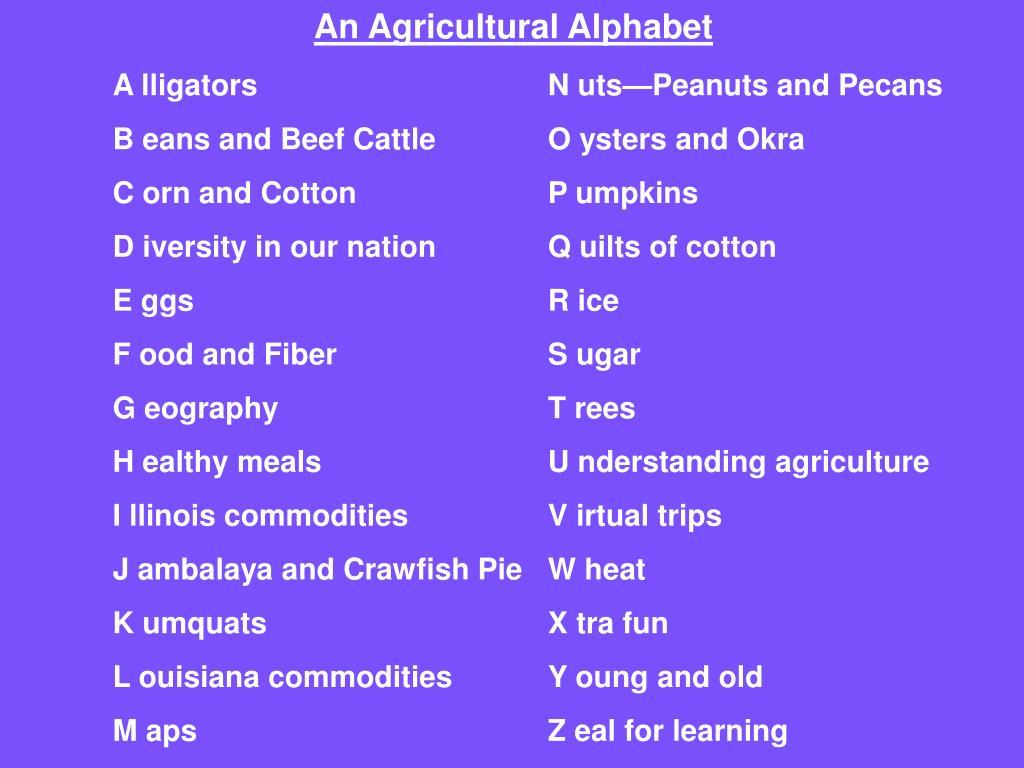An Agricultural Alphabet