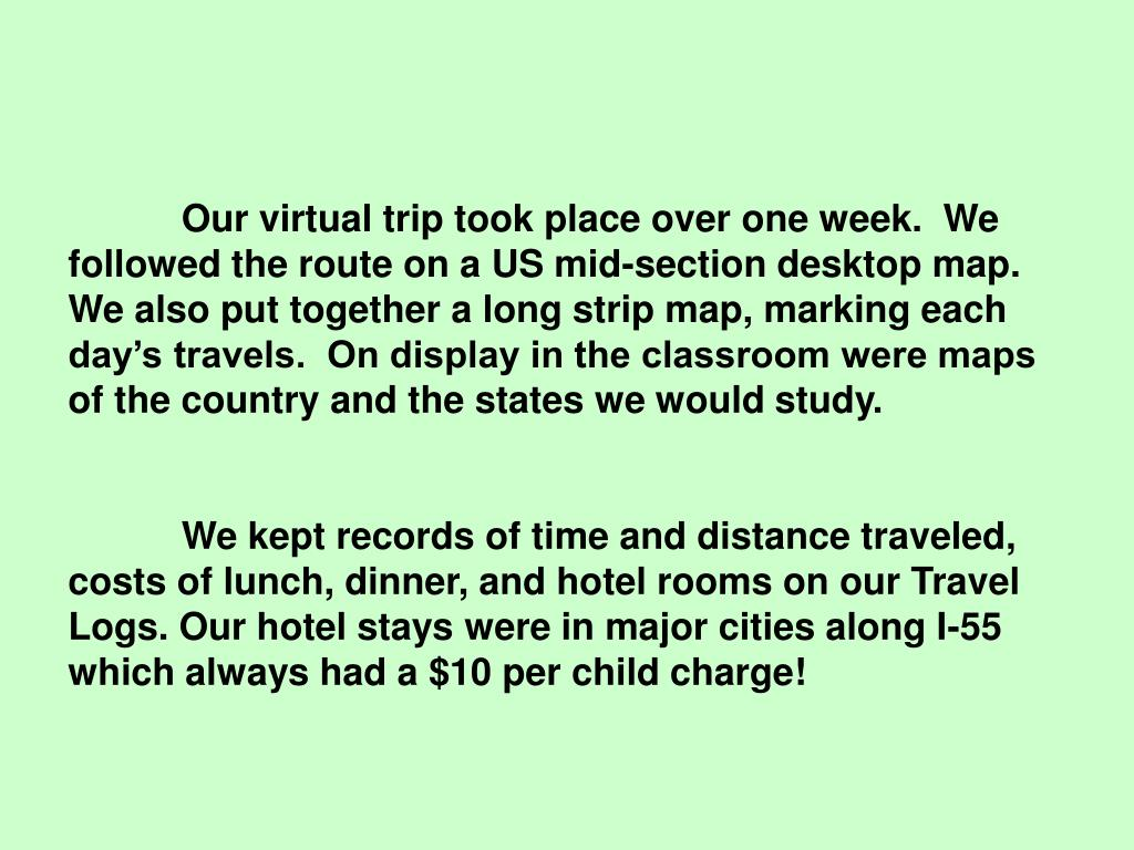 Our virtual trip took place over one week.  We followed the route on a US mid-section desktop map.  We also put together a long strip map, marking each day's travels.  On display in the classroom were maps of the country and the states we would study.